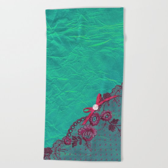 Claire´s treasure I - Pink lace,ribbon and pearl on aqua backround Beach Towel