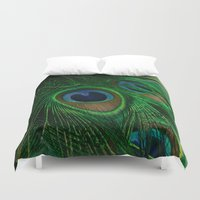 peacock Duvet Covers featuring Peacock by Olivia Joy StClaire