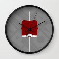 daredevil Wall Clocks featuring Marshmallow Daredevil by Oblivion Creative