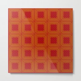 Red and Gold Bandana Patch Pattern Metal Print