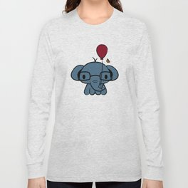 cute elephant with glasses holding a balloon Long Sleeve T-shirt