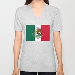 Flag of Mexico & Coat of Arms augmented scale Unisex V-Neck