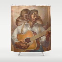African-American 1952 Classical Masterpiece 'Goodnight Irene' by Charles White Shower Curtain