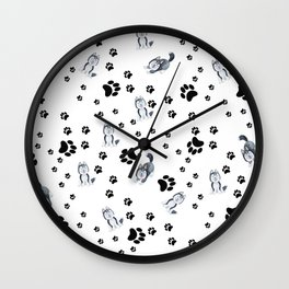 Hand painted watercolor black white dog paw's pattern Wall Clock
