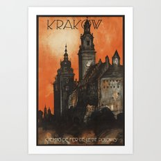 Krakow Poland - Vintage Polish Travel Poster Art Print