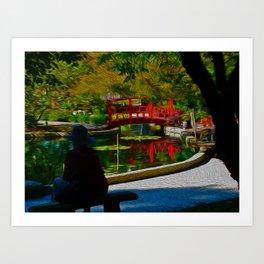 Red Bridge Reflections Art Print