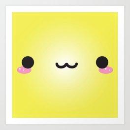 Kawaii Face (Yellow) Art Print