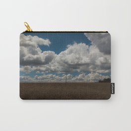 Field in France with wires, clouds and blue sky Carry-All Pouch