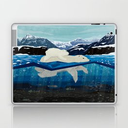 Polar bear mom and Cub Swimming  Laptop & iPad Skin