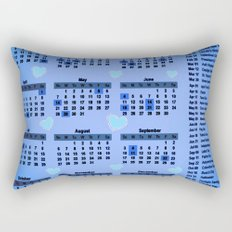 Blue hearts 2017 calendar Rectangular Pillow