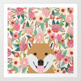 Shiba Inu floral dog face cute peeking shiba inus gifts Art Print