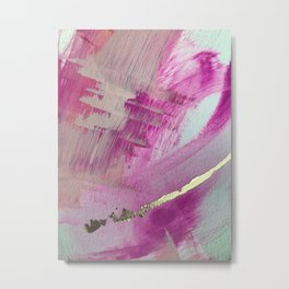 Starburst: a colorful, minimal abstract mixed-media piece in pinks and gold by Alyssa Hamilton Art Metal Print