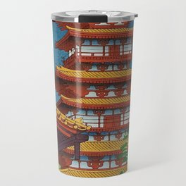 Japanese Woodblock Print Vintage Asian Art Colorful woodblock prints Pagoda Shinto Shrine Travel Mug