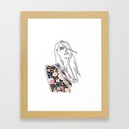 Fashion Illustration girl with floral jacket Framed Art Print