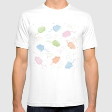 Cat Blobs Mice SMALL White Mens Fitted Tee