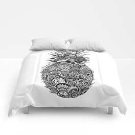 Pineapple Zentangle Black and White Pen Drawing Comforters