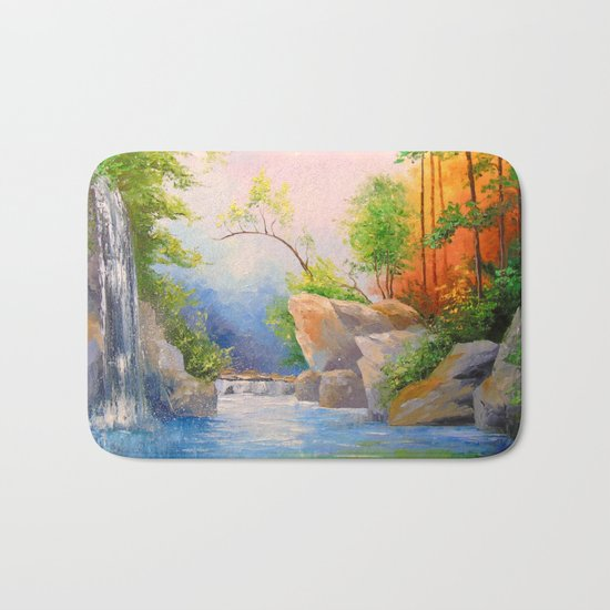 Waterfall in the woods Bath Mat