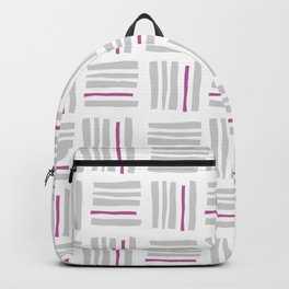 Stripes×Checkered Pattern_White&Pink Backpack