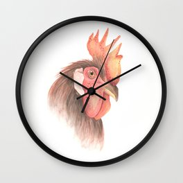 Rooster portrait watercolor Wall Clock