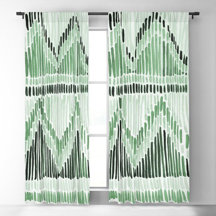 Chilili Watercolor Print in Dark Green Blackout Curtain