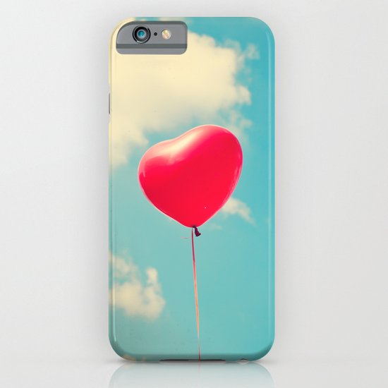 Love is in the air (Red Heart Balloon on a Retro Blue Sky) iPhone & iPod Case