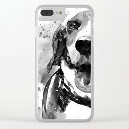 Black and White Half Faced Beagle Clear iPhone Case