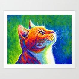 Anticipation - Rainbow Tabby Cat Art Print