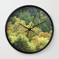 forrest Wall Clocks featuring Forrest Green by Bizzack Photography