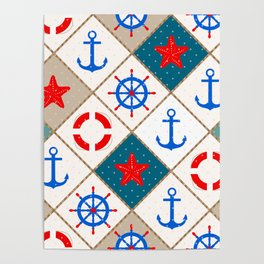 Nautical pattern . 1 Poster