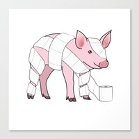 piglet Canvas Prints featuring Piglet by Doctor Hue