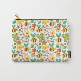 Cute Bumblebee Ladybug Butterfly Garden Pattern Carry-All Pouch