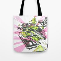 moto Tote Bags featuring Moto Mutants by Mike McDonnell