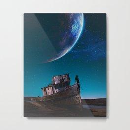 A crow on a boat by GEN Z Metal Print