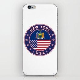 New York, USA States, New York t-shirt, New York sticker, circle iPhone Skin
