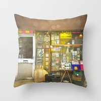 record Throw Pillows featuring Record Store by Cassia Beck