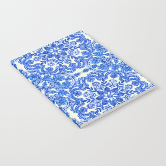 Cobalt Blue & China White Folk Art Pattern Notebook