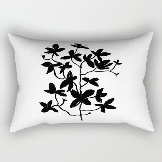 Plant black and white minimal modern art india ink painting brushstrokes freespirit brooklyn hipster Rectangular Pillow