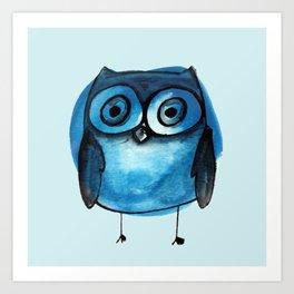 Blue Owl Boy Art Print