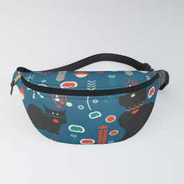 Black kitties in winter Fanny Pack