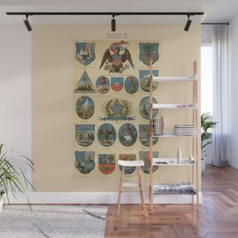 Coat of arms lithograph 1897 vintage illustration Wall Mural