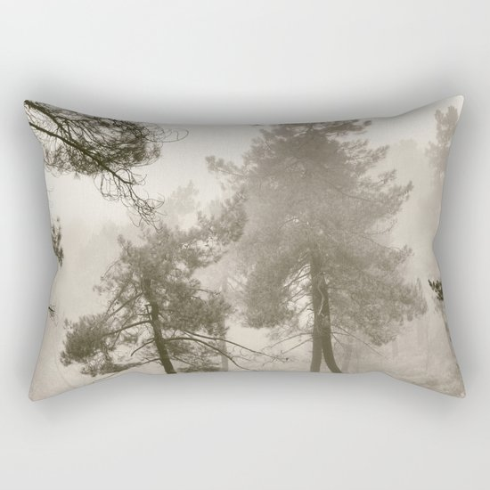 """Into the woods"". Mono. Wandering into the fog. Rectangular Pillow"
