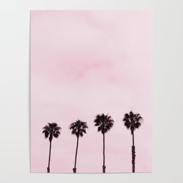 Four Palm Trees with a Pink Sky Poster