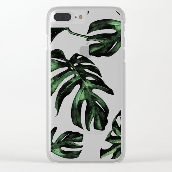 Tropical Green Palm Leaves Clear iPhone Case