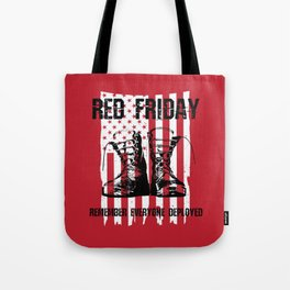 Red Friday American Flag Military Boots Tote Bag