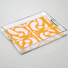 Abstract in Yellow and Cream Acrylic Tray