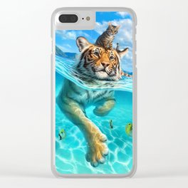 A small swim for a tiger Clear iPhone Case