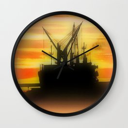 Silhouette of a Ship Wall Clock