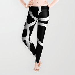 Interlocking White Circles Artistic Design Leggings