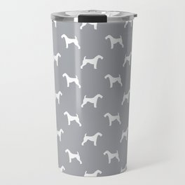 Airedale Terrier grey and white minimal dog pattern dog silhouette pattern Travel Mug