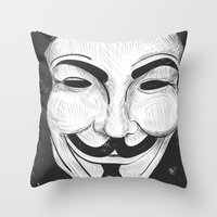 anonymous Throw Pillows featuring Anonymous by nicole carmagnini